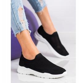 Ideal Shoes Wsuwane Buty Z Siateczką czarne 4