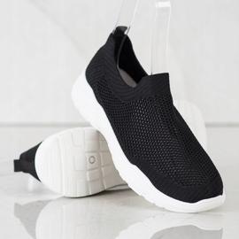Ideal Shoes Wsuwane Buty Z Siateczką czarne 2
