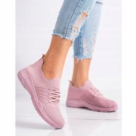 SHELOVET Wygodne Różowe Buty Sportowe 1