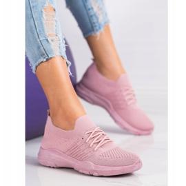 SHELOVET Wygodne Różowe Buty Sportowe 4