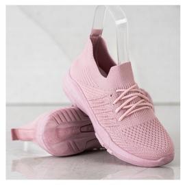 SHELOVET Wygodne Różowe Buty Sportowe 2