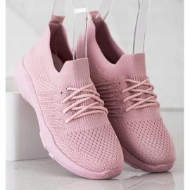 SHELOVET Wygodne Różowe Buty Sportowe 3