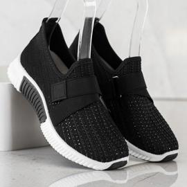 SHELOVET Buty Sportowe Z Kryształkami czarne 3