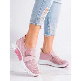 SHELOVET Buty Sportowe Z Kryształkami różowe 2