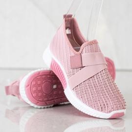 SHELOVET Buty Sportowe Z Kryształkami różowe 4