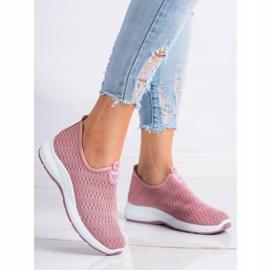 SHELOVET Lekkie Wsuwane Sneakersy różowe 1