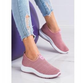 SHELOVET Lekkie Wsuwane Sneakersy różowe 4