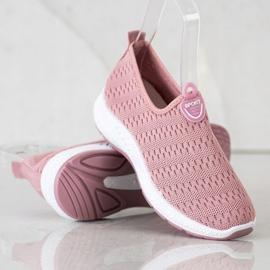 SHELOVET Lekkie Wsuwane Sneakersy różowe 2