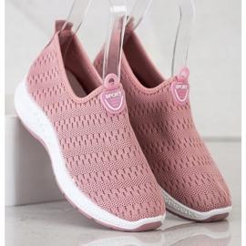 SHELOVET Lekkie Wsuwane Sneakersy różowe 3