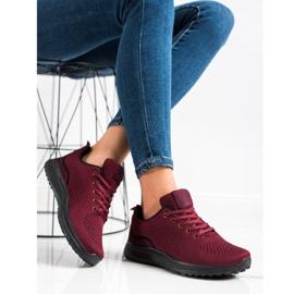 Bona Bordowe Lekkie Buty Sportowe czarne czerwone 3
