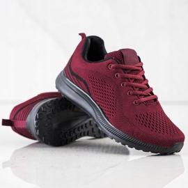 Bona Bordowe Lekkie Buty Sportowe czarne czerwone 1