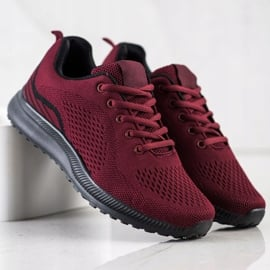 Bona Bordowe Lekkie Buty Sportowe czarne czerwone 2
