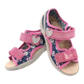 Befado obuwie dziecięce pu 065X151 granatowe różowe srebrny 3