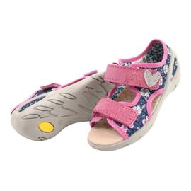 Befado obuwie dziecięce pu 065X151 granatowe różowe srebrny 2