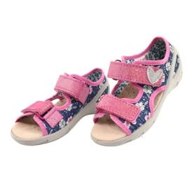 Befado obuwie dziecięce pu 065X151 granatowe różowe srebrny 1