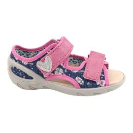 Befado obuwie dziecięce pu 065P151 granatowe różowe 1