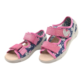 Befado obuwie dziecięce pu 065P151 granatowe różowe 2