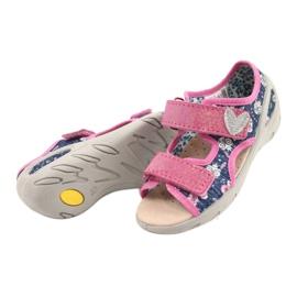Befado obuwie dziecięce pu 065P151 granatowe różowe 3