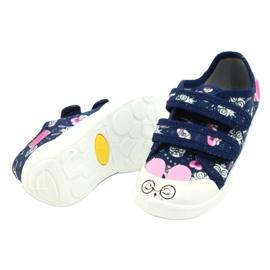 Befado obuwie dziecięce  907P127 białe granatowe różowe srebrny 2