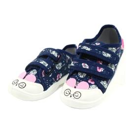 Befado obuwie dziecięce  907P127 białe granatowe różowe srebrny 1