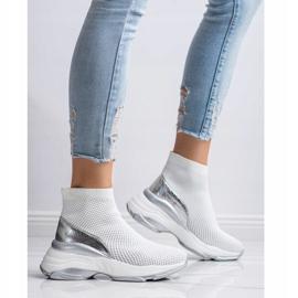 SHELOVET Wysokie Tekstylne Sneakersy białe 4