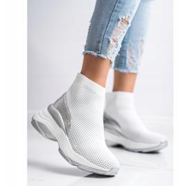 SHELOVET Wysokie Tekstylne Sneakersy białe 1