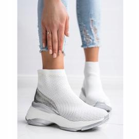 SHELOVET Wysokie Tekstylne Sneakersy białe 5