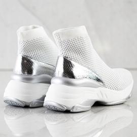SHELOVET Wysokie Tekstylne Sneakersy białe 3