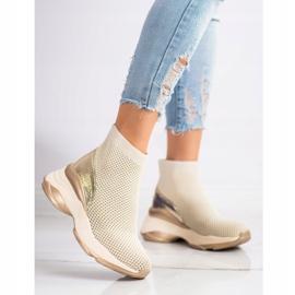 SHELOVET Wysokie Tekstylne Sneakersy beżowy 2