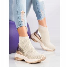 SHELOVET Wysokie Tekstylne Sneakersy beżowy 1