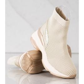 SHELOVET Wysokie Tekstylne Sneakersy beżowy 3