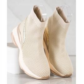 SHELOVET Wysokie Tekstylne Sneakersy beżowy 4