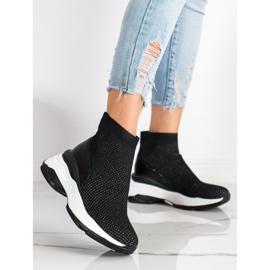 SHELOVET Wysokie Tekstylne Sneakersy czarne 1