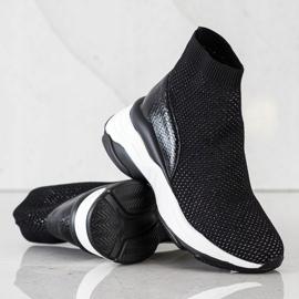 SHELOVET Wysokie Tekstylne Sneakersy czarne 2