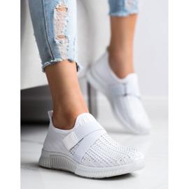 SHELOVET Buty Sportowe Z Kryształkami białe 1