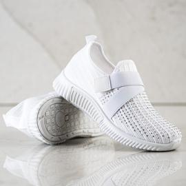 SHELOVET Buty Sportowe Z Kryształkami białe 4