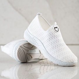 SHELOVET Lekkie Wsuwane Sneakersy białe 4