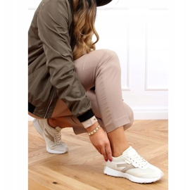 Buty sportowe beżowe 6115 Beige beżowy 2