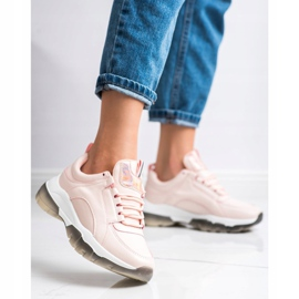 SHELOVET Różowe Sneakersy Z Eko Skóry 3