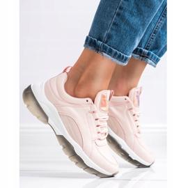 SHELOVET Różowe Sneakersy Z Eko Skóry 2