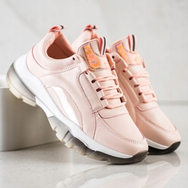 SHELOVET Różowe Sneakersy Z Eko Skóry 1
