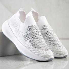 Renda Białe Sneakersy Z Kryształkami 1