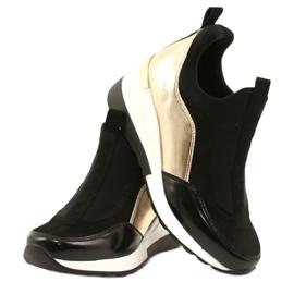 Wsuwane Sneakersy na koturnie Evento 21PB35-4000 czarne złoty 3