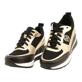 Evento Damskie Sneakersy Na Koturnie 21PB35-4001 Czarne Złote Roxette złoty 2