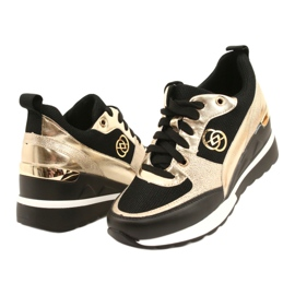 Evento Damskie Sneakersy Na Koturnie 21PB35-4001 Czarne Złote Roxette złoty 3