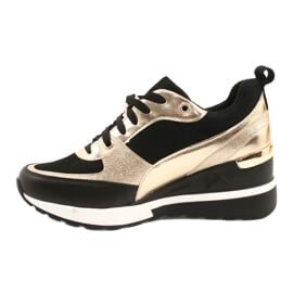 Evento Damskie Sneakersy Na Koturnie 21PB35-4001 Czarne Złote Roxette złoty 1