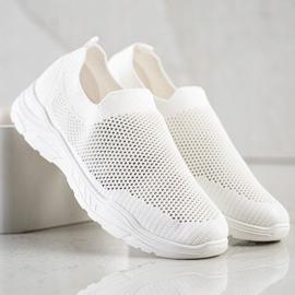Ideal Shoes Wsuwane Buty Z Siateczką białe 3