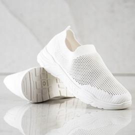 Ideal Shoes Wsuwane Buty Z Siateczką białe 4