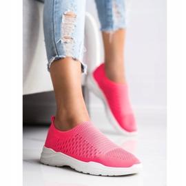 Ideal Shoes Wygodne Ażurowe Sneakersy różowe 2