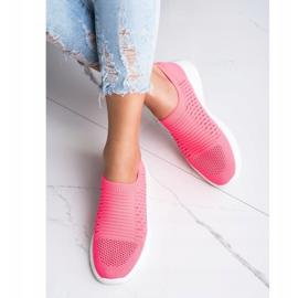 Ideal Shoes Wygodne Ażurowe Sneakersy różowe 3